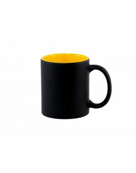 Caneca Mágica Preta Fosca Interior Amarela para sublimação - Ilustrativa