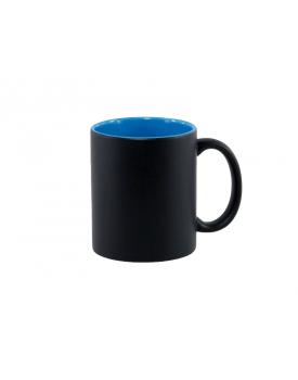 Caneca Mágica Preta Fosca Interior Azul para sublimação - Ilustrativa