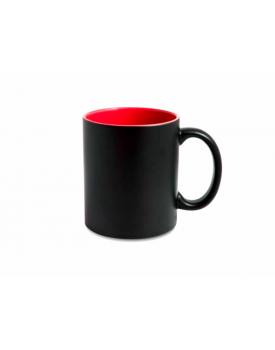 Caneca Mágica Preta Fosca Interior vermelha para sublimação - Ilustrativa