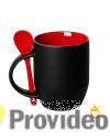 Caneca Magica Preta FOSCA c/ Colher - Vermelha Cerâmica 11oz (325ml) para Sublimação