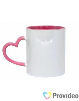 Caneca Alça Coração - Interior Branca - Alça Rosa para Sublimação 11oz