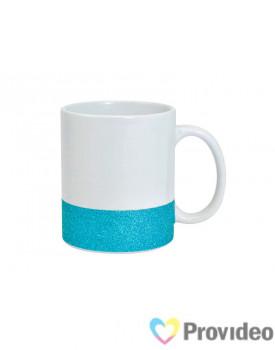 Caneca BASE GLITTER Azul de Cerâmica 11oz para Sublimação