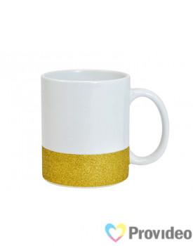 Caneca BASE GLITTER Dourada de Cerâmica 11oz para Sublimação