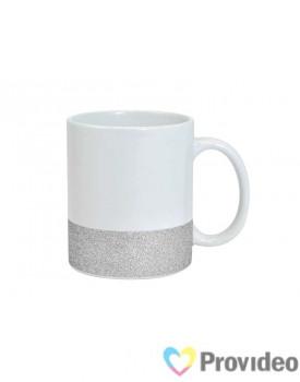 Caneca BASE GLITTER Prateada de Cerâmica 11oz para Sublimação