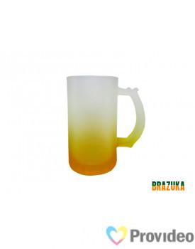 Caneca de CHOPP Vidro FOSCO para Sublimação Amarela - 460ml - Brazuka