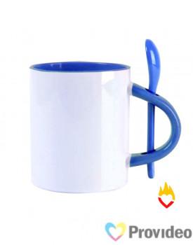 Caneca c/ Colher RETA - Interior Azul Cerâmica 11oz (325ml) para Sublimação