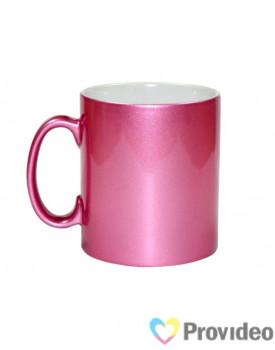 Caneca CROMADA Rosa de Cerâmica 11oz para Sublimação