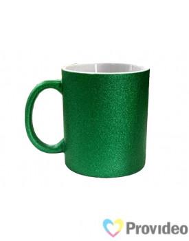 Caneca GLITTER Verde de Cerâmica 11oz para Sublimação