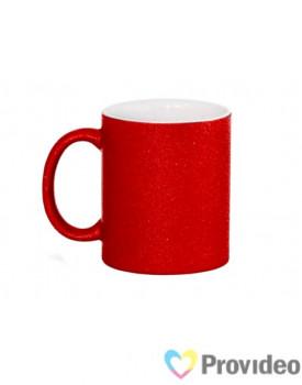 Caneca GLITTER Vermelha de Cerâmica 11oz para Sublimação