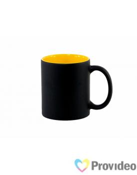 Caneca Magica Preta FOSCA Interior Amarela de Cerâmica 11oz para Sublimação