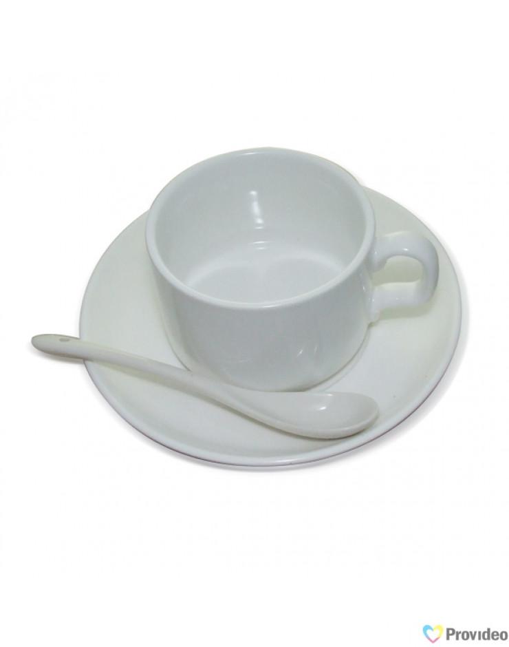Caneca de Chá com Collher e Pires