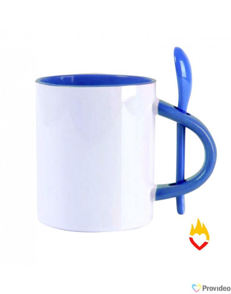 Caneca com Colher RETA para Sublimação - Azul