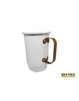 Caneca de Aluminio Branca com Alça Dourada - Brazuka