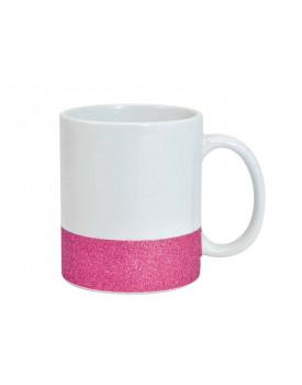 Caneca Base Glitter Rosa para Sublimação