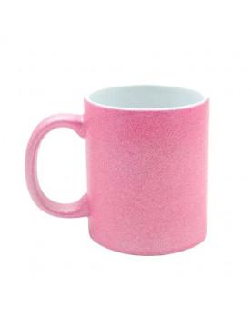 Caneca com Glitter Rosa para Sublimação