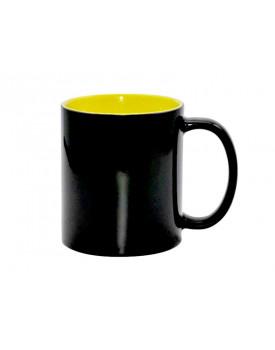 Caneca Mágica Preta Brilho Interior Amarela para sublimação