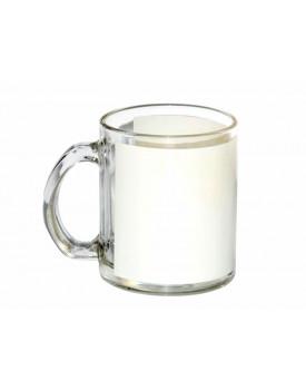 Caneca de Vidro tarja Branca para Sublimação 11oz - Probulk