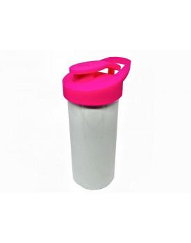 Squeeze Branco para sublimação tampa rosa