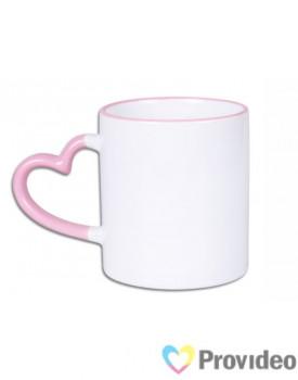 Caneca Alça Coração - Alça e Borda - Rosa para Sublimação 11oz