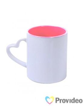 Caneca Alça Coração - Alça Branca - Interior Rosa para Sublimação 11oz