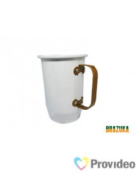 Caneca de Aluminio para Sublimação Branca c/ Alça Dourada - 600ml - Brazuka