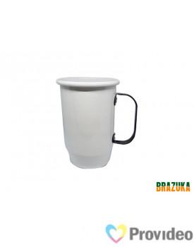 Caneca de Aluminio para Sublimação Branca c/ Alça Preta - 600ml - Brazuka