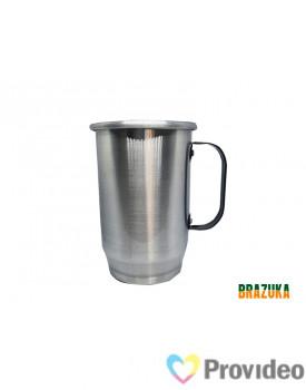 Caneca de Aluminio para Sublimação Prata c/ alça Preta - 600ml - Brazuka
