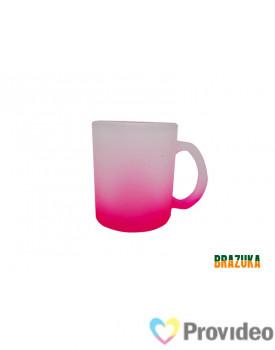 Caneca de Vidro FOSCO para Sublimação - Rosa 320ml - Brazuka