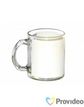 Caneca de Vidro Tarja Branca para Sublimação 11oz - (  (área branca )