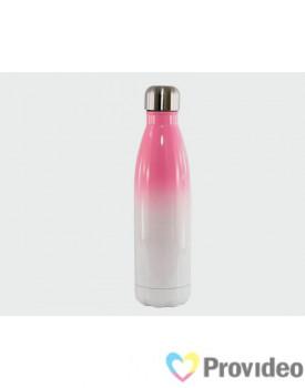 Garrafa de INOX - COLA Bicolor - Branca/Rosa 500ml para Sublimação
