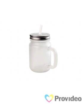Jarra de Vidro Fosca c/ Tampa e Canudo Branco para Sublimação 475ml ( Mason Jar )