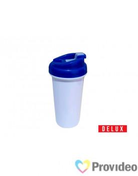 Squeeze de Plástico (polímero) Branco Sublimação DELUX - Tampa Azul