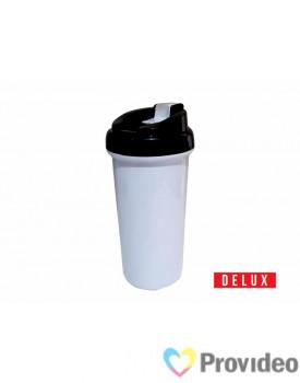 Squeeze de Plástico (polímero) Branco Sublimação DELUX - Tampa Preta