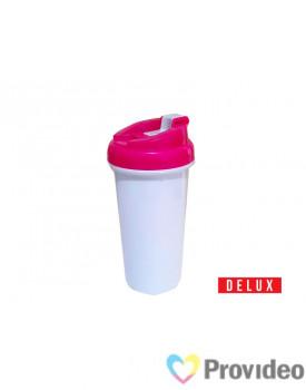 Squeeze de Plástico (polímero) Branco Sublimação DELUX - Tampa Rosa