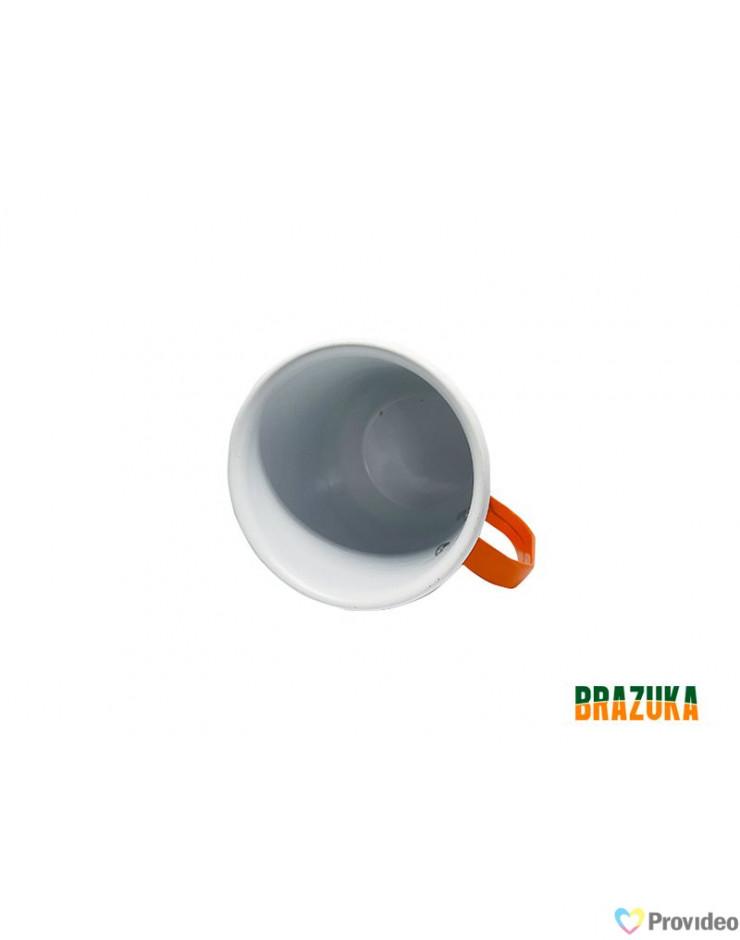 Caneca de Aluminio Branca com Alça Laranja - Brazuka