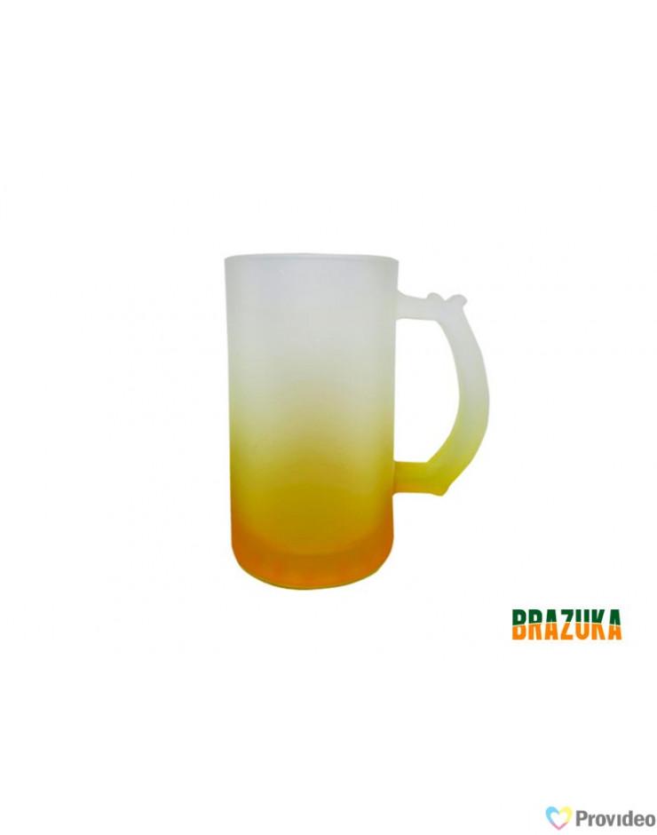 Caneca de CHOPP Vidro Fosca Amarela para Sublimação 460ml