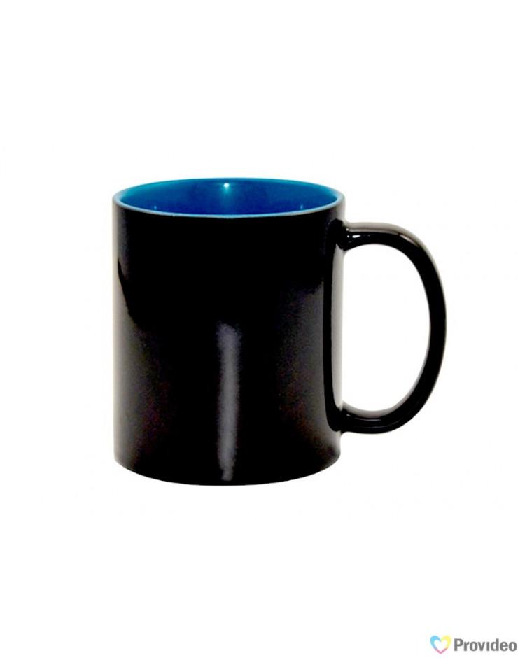 Caneca Mágica Preta Brilho Interior Azul para sublimação