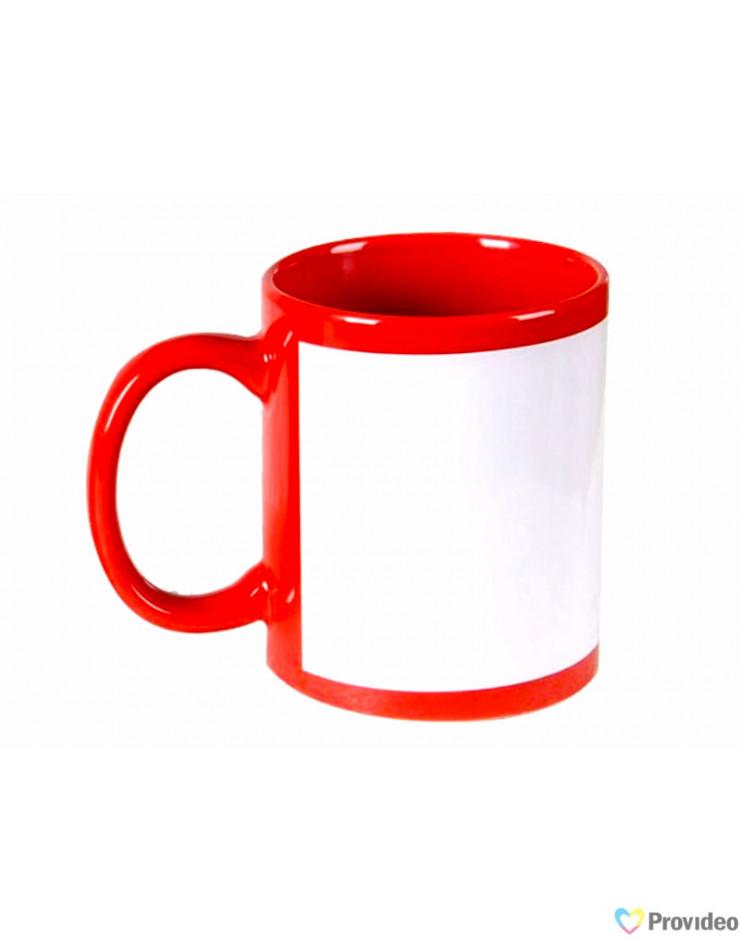 Caneca tarja Branca para Sublimação - Vermelha