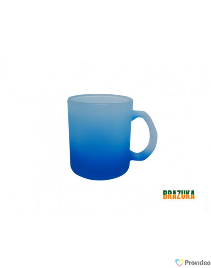 Caneca de Vidro Fosca Azul para Sublimação 320ml -